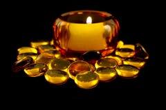 złoty koralik świece posiadacza Obrazy Royalty Free