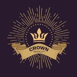 Złoty korona wektor Kreskowej sztuki loga projekt Rocznika królewski symbol władza i bogactwo Wyginający się faborek dla teksta P ilustracja wektor