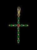 Złoty krzyż z szmaragdami Obrazy Royalty Free