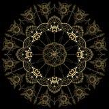 Złoty kwiatu mandala elementu dekoracyjny rocznik Orientała wzór, ilustracja Islam, język arabski, indianin, marokański, Spain, ilustracji