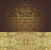 Złoty kwiecisty wzór na brązu tle royalty ilustracja