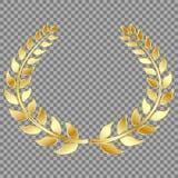 Złoty Laurowy wianek, odizolowywający na szarym tle Wektorowy element dla twój projekta royalty ilustracja