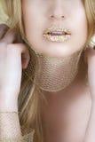 złoty liść usta Zdjęcia Royalty Free