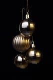Złoty Lustrzany piłek wieszać Fotografia Stock