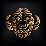 Złoty małpy głowy logo odizolowywający na czarnym tle ilustracja wektor