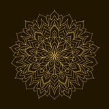Złoty mandala Szablonu Kółkowy ornament Obrazy Stock