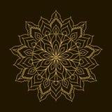 Złoty mandala Szablonu Kółkowy ornament Zdjęcia Royalty Free