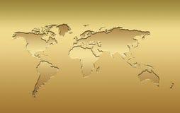złoty mapa świata Obrazy Royalty Free