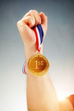 Złoty medal najpierw umieszcza zwycięzcy Obrazy Royalty Free