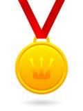 Złoty medal z królewską koroną Zdjęcie Stock