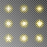Złoty migotania błyskotania wektor odizolowywający na przejrzystym tle Błyskowy lekki kamera skutek Świecenie l ilustracja wektor