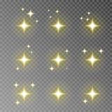 Złoty migotania błyskotania wektor odizolowywający na przejrzystym tle Błyskowy lekki kamera skutek Świecenie l royalty ilustracja