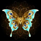 Złoty motyl z turkusem ilustracja wektor