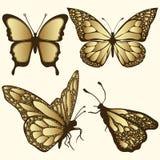 Złoty motyla set Luksusowy projekt, droga biżuteria, broszka Egzotyczny wzorzysty insekt, tatuaż, dekoracyjny element Wektorowy I royalty ilustracja