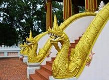 Złoty Naga drabinowa rzeźba w Lao świątyni Fotografia Royalty Free