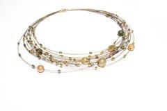 złoty naszyjnik perełek srebra Fotografia Royalty Free