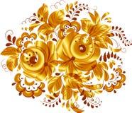 Złoty odosobniony wektorowy kwiecisty element Obrazy Royalty Free