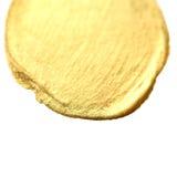 Złoty okrąg plamy tło Złocista ręka rysujący akwareli br Fotografia Stock