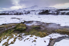 Złoty okrąg w Iceland podczas zimy Obrazy Royalty Free