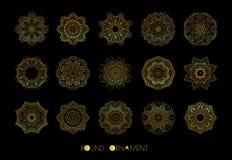 złoty okręgu ornament Wektorowy ustawiający roczników ornamenty Obrazy Stock
