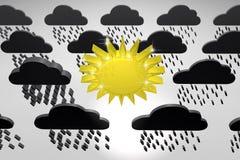 Złoty olśniewający słońce wśród czarnych pada chmur royalty ilustracja
