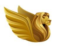 Złoty oskrzydlony lew royalty ilustracja