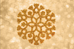 Złoty płatka śniegu tło Fotografia Stock