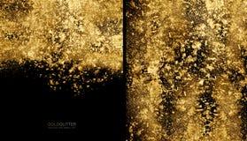 Złoty płatka tła pojęcie Rozrzucony złocisty błyskotliwość proszek na czerni obrazy royalty free