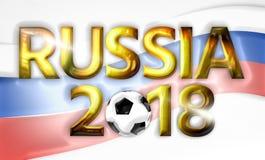 Złoty 2018 piłki nożnej fotoball Russia rosjanin 3d odpłaca się Obraz Stock