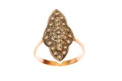 Złoty pierścionek odizolowywający na biały tle Zdjęcie Stock