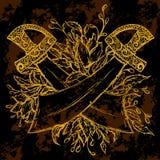 Złoty pirata kordzik, kwiaty i liście, Rocznik kwiecista wysoce szczegółowa ręka rysująca ilustracja elementy royalty ilustracja