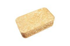 złoty plactic Pudełko odizolowywający na biały tle Obrazy Stock