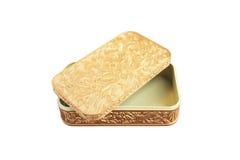 Złoty plastikowy pudełko odizolowywający na biały tle Obraz Stock