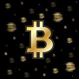 Złoty prędkości bitcoin tło Obrazy Royalty Free
