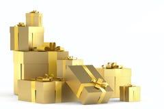 złoty prezenta stos royalty ilustracja