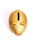 Złoty prosiątko bank od odgórnego widoku Fotografia Royalty Free