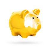 Złoty prosiątko bank odizolowywający nad białym tłem Zdjęcie Stock