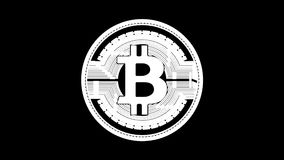 Złoty przędzalniany bitcoin pętli animacja z matte kanałem ilustracji
