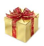złoty pudełkowaty prezent obraz stock