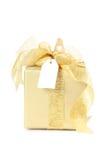 złoty pudełkowaty prezent Zdjęcie Royalty Free