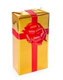 złoty pudełkowaty prezent Obrazy Stock