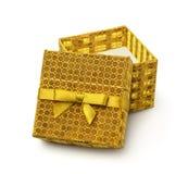 złoty pudełkowaty prezent otwiera Zdjęcia Royalty Free