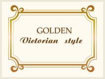 Złoty ramowy luksusowy wiktoriański styl, kwiecista rabatowa dekoracja wektor Zdjęcie Stock