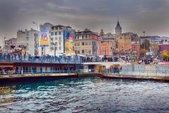 Złoty rogu Galata most Karakoy Istanbuł & wierza zdjęcie stock