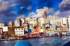 Złoty rogu Galata wierza Karakoy Istanbuł obrazy royalty free