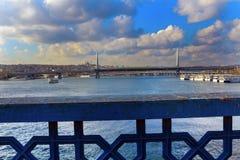 Złoty rogu metra most od Galata mosta Istanbuł obrazy royalty free