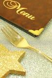 Złoty rozwidlenia i restauraci menu Zdjęcie Stock