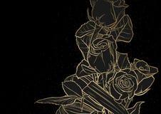 Złoty Rysunkowy róża bukiet na czerni ilustracja wektor