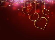 Złoty serce walentynki kartka z pozdrowieniami Fotografia Stock