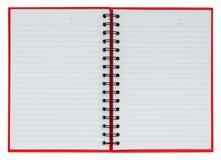 złoty spinacz księgowego notatnik i piśmie czerwony taśmy Obraz Stock